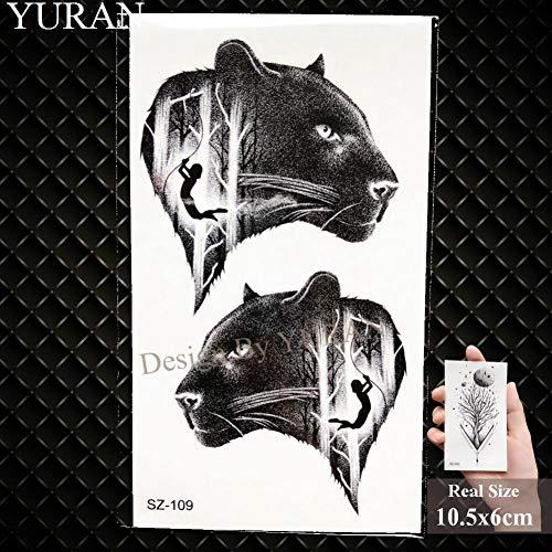 GHHCG Moose, Tatuaje Temporal Hombres Brazo Pegatinas Lobo Negro Impermeable Tatoos Mujeres Manos Pequeño Guepardo Suministros de Tatuaje, Gsz109