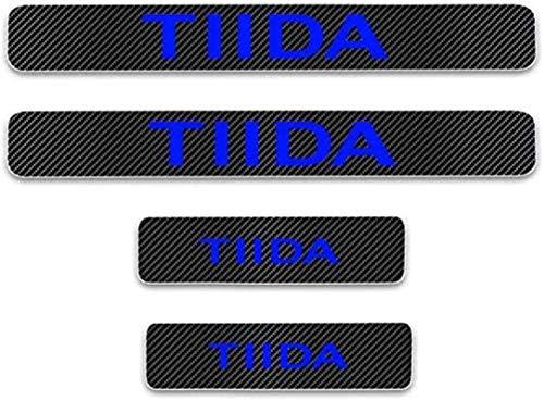 JZAMQ Anti-Kratz-Platte Für Autoschwelle Für Passend Für 4 Stück Externes Carbon-Faser-Leder-Auto Kick-Platten Pedal for Tiida, Einstieg Willkommen Pedal-Tritt Scuff Threshold Bar Protec.