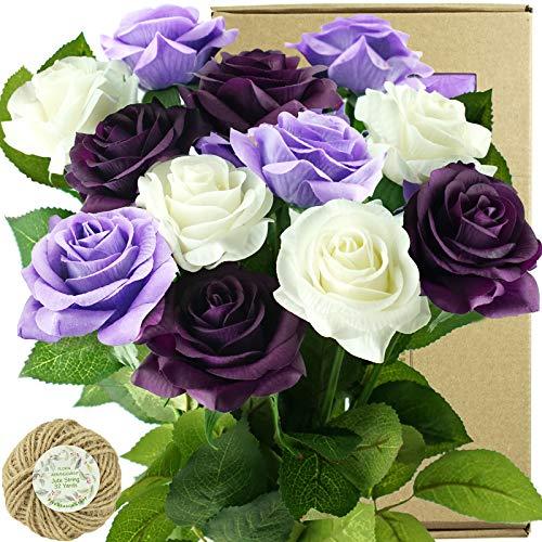 FiveSeasonStuff Künstliche Blumen mit 12 Stielen, fühlt sich echt an, Seidenrosen für Hochzeitsdekoration, Brautsträuße, Tischaufsätze, Party, Dusche, verpackt in Box (Luxe Lila & Weiß)