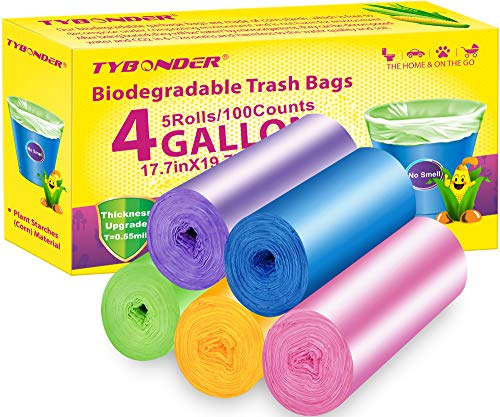 4 Gallon Biodegradable Trash Bags,5 Colors Super Thicken Garbage Bags,100 Counts Compostable Degradable Wastebasket Bin Liners Bags for Kitchen,Bathroom,Office,Home,Cat Litter