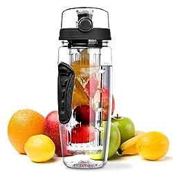 Water bottle, OMorc [BPA-free Tritan] plastic water bottle Sports bottle 1L sports bottle Leak-proof, water bottles with closure & carrying handle for fruit spritzer / vegetable spritzer black