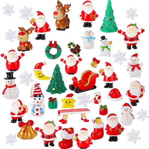 40 Pieces Christmas Miniature Ornaments Resin Miniature Fairy Garden Dollhouse Decoration Ornaments DIY Kit Christmas Pendant Accessories DIY Snow Globe Figurines Christmas Decorations for Party