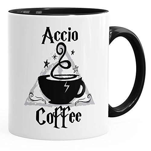 MoonWorks Kaffee-Tasse Spruch Accio Coffee Teetasse Keramiktasse schwarz Unisize