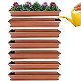 Juego de 6 jardineras para balcón, jardinera de terracota con sistema de riego y platillo de 80 cm