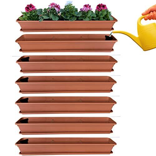 6er Blumenkasten Set Balkonkasten Pflanzkasten Terracotta mit Bewässerungssystem und Balkonkasten Untersetzer 100cm