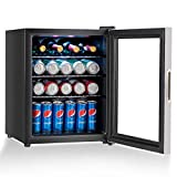 COSTWAY Beverage Refrigerator and Cooler, 52 Can Mini Fridge with Glass Door for Soda Beer or Wine Small Drink Dispenser Machine for Office or Bar (17'x 17.5'x 22')