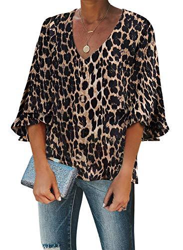 GOSOPIN Damen Tops Casual Oberteil V-Ausschnitt Bluse elegant Vintage Tunika Lose T-Shirt Sommer Hemd, Leopard, M