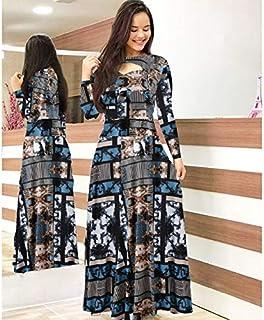 Elegant autumn Women's Dress 2020 Casual Bohemia Flower Print Maxi Dresses Fashion Hollow Out Tunic Dress Plus Size 5XL brand:TONWIN (Color : H long, Size : 5XL)