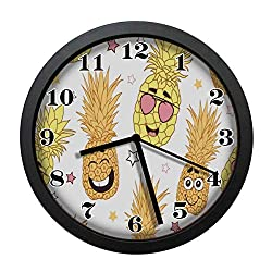 wojuedehuidamai6 Wall Clock - Pineapple Emoji Decor Retro Wall Clock - Art Wall Clock - Silent Wall Clock - Digital Wall Clock - Large Wall Clock with 12in