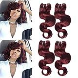 XCCOCO Peruvian 10A Virgin Hair 99j# Body Wave Remy Human Hair 4 Bundles 10 10 10 10inch (50g/bundle) Burgundy Wavy Red Wine Hair Short Soft Bob Curly Weave