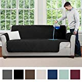 MIGHTY MONKEY Premium Water and Slip Resistant Large Sofa Protector, Seat Width Up to 70 Inch, Absorbs 6 Cups of Water, Oeko Tex Certified, Furniture Slipcover, Cover for Couches, Dogs, Sofa, Gray