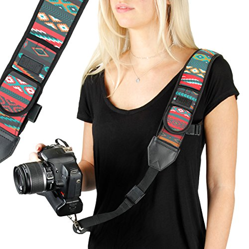USA GEAR Camera Sling Shoulder Strap with Adjustable Southwest Neoprene, Safety Tether, Accessory Pocket, Quick Release Buckle - Compatible with Canon, Nikon, Sony and More Dslr and Mirrorless Cameras