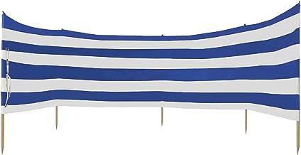 Idena Unisex - volwassenen windscherm ca. 600 x 80 cm, in blauw-wit, met draagriem en bevestigingsbanden, voor strand, cam...