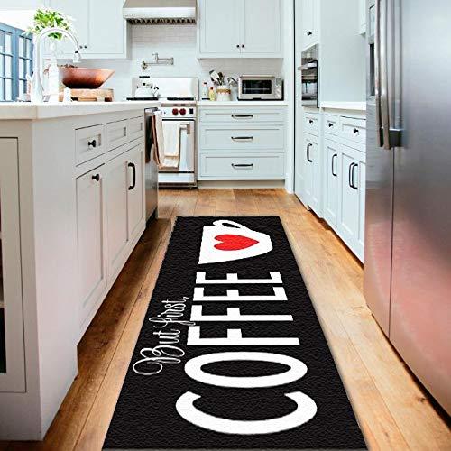 Tapete Passadeira de Cozinha Black Coffee Antiderrapa-40x120