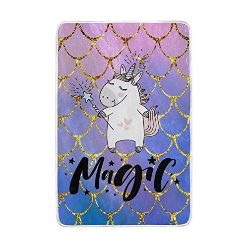 linomo - Manta para sofá o Cama, diseño de Unicornio con Escamas de Sirena, para niños, niñas, Adultos, 152,4 x 228,6 cm