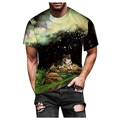 Xmiral Maglia t Shirt Maglietta Magliette Maglietta Top Camicetta Uomo Primavera Estate Casual Slim 3D Stampato Manica Corta (S,8verde)