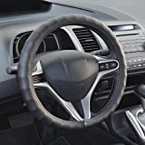 BDK SW-899-SK Genuine Leather Car Steering Wheel Cover 13.5'-14.5' (Small/Black) - Universal Fit, Easy Installation