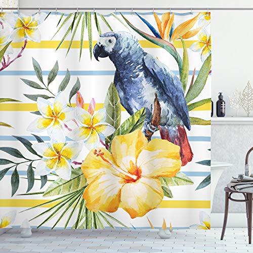 ABAKUHAUS Duschvorhang, Tropisches Exotisches Muster mit Papageien Orchideen & Hibiskus Blüht Hawaiisches Dschungel, Blickdicht aus Stoff inkl. 12 Ringen Umweltfre&lich Waschbar, 175 X 200 cm