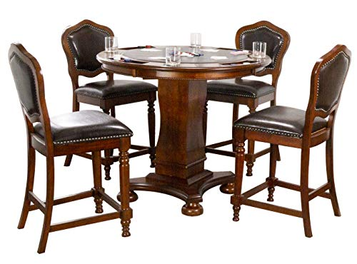 Sunset Trading Poker Dining and Game Pub Table Set, Distressed Brown Cherry with Espresso Seats
