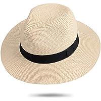 Maylisacc Sombrero de Panamá Unisex Sombrero de Paja Sombrero de Verano Sombrero de Playa de Fedora para Hombres Mujeres