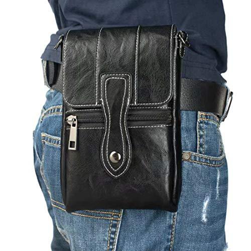 Bolsa Compacta de Hombro Cintura Cinturón, Hombre Bandolera de Cuero Negro, 6.5