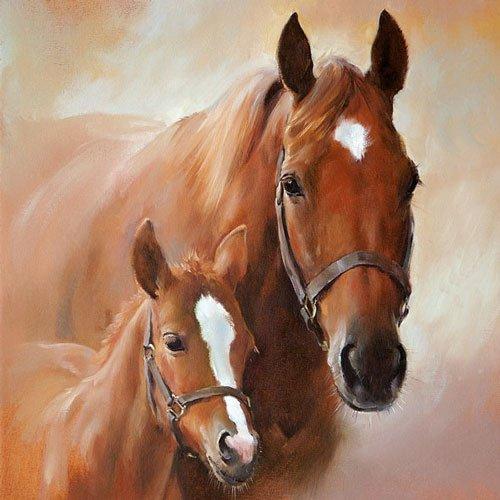 Ambiente - Tovaglioli a 3 strati con cavalli, 33 x 33 cm