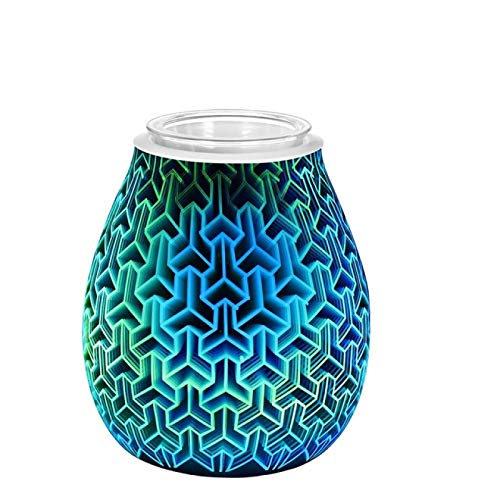 GXFCQKDSZX Aroma Diffuser With Night Light Square Aromatherapy Electric Wax Furnace 3D Electric Oil Burner