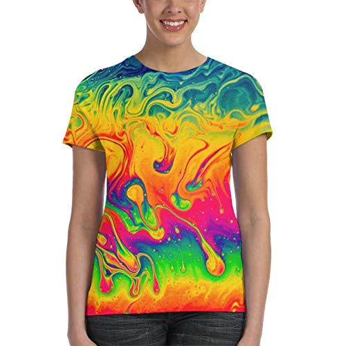 WoodWorths Colorful Neon Graphic Womens Short Sleeve T Shirt Tees Colorful Summer(XL,Black)