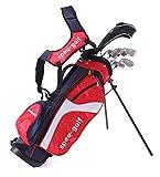 Speq - Medio Juego de Palos de Golf para niños (con Bolsa), Color Verde Rojo Rojo, Azul Marino y Blanco Talla:1,15-1,30 m