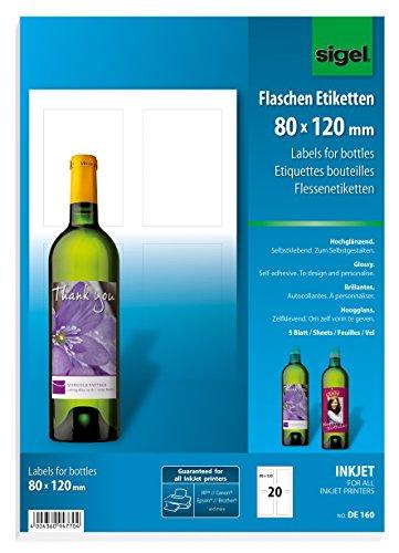SIGEL DE160 Flaschenetiketten, 20 Stück, hochweiß, für Ink (A4 Papier, hochglänzend, 80 x 120 mm)
