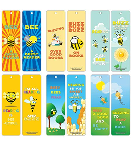 Creanoso Book Reading Bee Bookmarks for Kids (60-Pack) – Fun and Inspiring Words for Book Reading Sessions – Premium Gift Stocking Stuffers for Boys, Girls, Young Readers