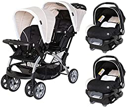 Baby Trend Sit N Stand Compact Easy Fold Toddler Baby Infant Double Stroller with 2 Baby Trend Ally 35 Baby Infant Car Seat Carriers with Cozy Cover