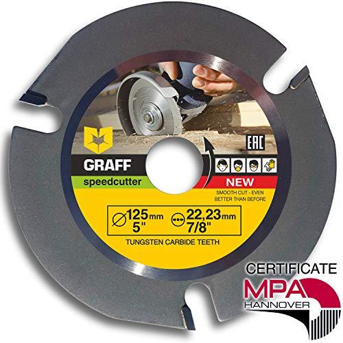 Hartmetall GRAFF Speedcutter Flex Trennscheibe für Holz 125mm / 115mm, 3 Zähne TCT, Holz Kreissägeblatt für Winkelschleifer, Wood Carving Disc zum Schnitzen, Schneiden, Formen, 22.23 mm (125 mm)