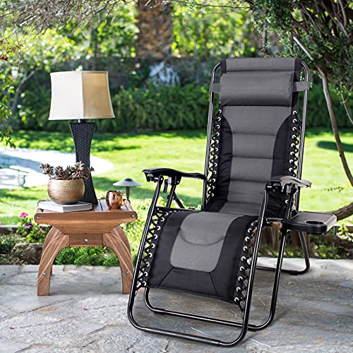 MAISON ARTS Padded Zero Gravity Lawn Chair Anti Gravity Lounge Chair Adjustable Recliner w/Pillow & Cup Holder Outdoor Camp Chair for Poolside Backyard Beach, Support 300lbs, Grey