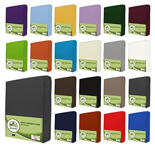 leevitex® Jersey Spannbettlaken, Spannbetttuch 100% Baumwolle in vielen Größen und Farben MARKENQUALITÄT ÖKOTEX Standard 100 | 180 x 200 cm - 200 x 200 cm - Anthrazit Grau