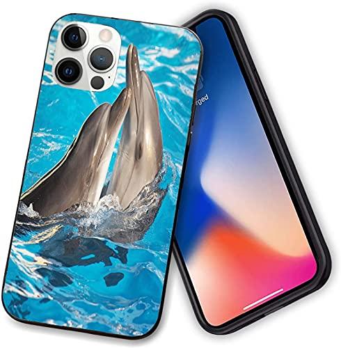 Compatible con iPhone 12 Series, Aqua Show Par de San Valentín Dolphins Dancing in Pool Animal Terness Love, funda flexible para teléfono iPhone 12 pro-6.1 pulgadas