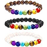ONESING 3 Pcs Chakra Bracelets Lava Rock 7 Chakras Crystals and Healing Stones Bracelets 8mm Chakra Stones Stress Relief Yoga Beads Bracelets Essential Oil Diffuser Bracelets for Women Men