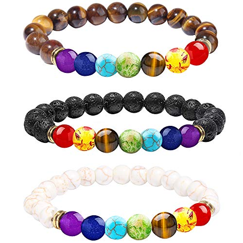 ONESING 3 Pcs Chakra Bracelets for Women Lava Rock 7 Chakras Crystals and Healing Stones Jewelry 8mm Chakra Stones Stress Relief Yoga Beads Bracelets Charm Essential Oil Diffuser Bracelets for Men