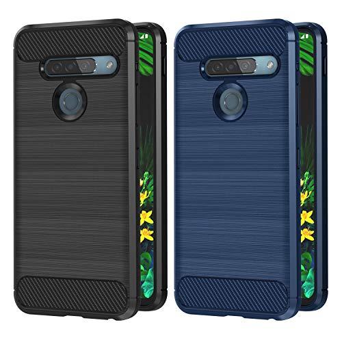 VGUARD 2 Stücke Hülle für LG G8s ThinQ, Carbon Faser Case Tasche Schutzhülle mit Stoßdämpfung Soft Flex TPU Silikon Handyhülle für LG G8s ThinQ - (Schwarz+Blau)
