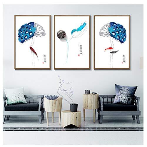 De Auspiciou Karper Lotus Zaden En Planten Canvas Schilderij Minimalisme Posters En Prints Muur Foto-40X60cmx3 Geen Ingelijst