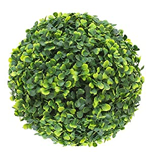 SunnyRoyal Topiary Ball Artificial Outdoor Boxwood Balls Topiary Lifelike Plants, Round Topiary for Indoor/Outdoor Decore, Sempreverde Green 11 Inch, 1 Piece