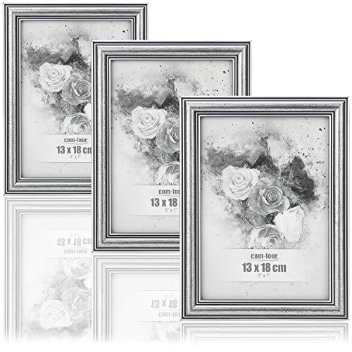 com-four® 3X Bilderrahmen 13 x 18 cm für die schönsten Fotos - Stilvoller Fotorahmen - Rahmen für Lieblingsbilder und Schnappschüsse - tolle Geschenkidee