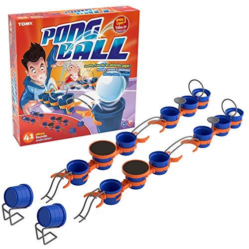 TOMY - 14 Vasos, 4 Pelotas de Ping Pong, 8 pequeñas, 6 gandas atas, 2 Arcos, 2 Tees, 2 Barras paralelas Redondeadas, 2 Trampolines, 2 sonrientes, 1 Manual de Instrucciones, T73020, Multicolor