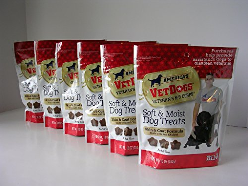 Bil-Jac Americas VetDogs Veterans K-9 Corps Soft & Moist Skin & Coat Dog Treats, 6-10 oz. Bags (Case)