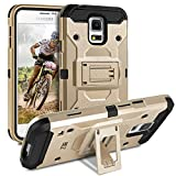 BEZ Coque pour Samsung Galaxy S5 /S5 Neo, Etui Housse Samsung Galaxy S5 Antichoc Militaire Heavy Duty Shock Proof Survivor - Or