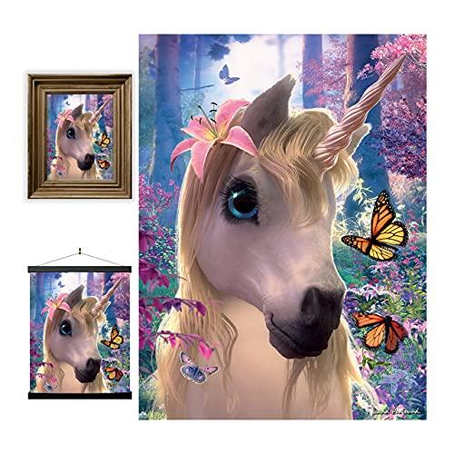 3D LiveLife Lenticular Cuadros Decoración - Unicornio adorable de Deluxebase. Poster 3D sin marco de fantasía. Obra de arte original con licencia del reconocido artista, David Penfound