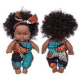 Muñeca de Pelo Negro con rizos Negros y Ojos Marrones-Muñeca de Bebé de 25 cm-Linda Muñeca de Vinilo de Pelo Rizado para Bebé-Regalos de cumpleaños para niños y niñas