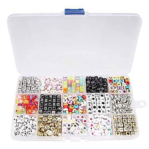 Beauty7 - 1100 Acryl Buchstaben Alphabet Perlen Cube Charms für Loom Bändchen Armbänder DIY Zubehör Set(15 Verschiedene Perlensorten in tollen Farben)