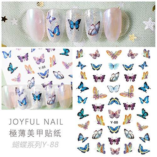 Nagel-Aufkleber-Kit 6Pcs Mischfarben-fluoreszierender Laser-Schmetterling-Nagel-Aufkleber Ein Satz selbstklebende Aurora-Schmetterlinge DIY-Tipp Nagel-Aufkleber Maniküre-Werkzeug-1pc-,