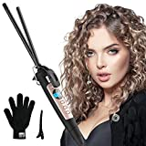 9mm Thin Curling Wand Iron, Ohuhu 3/8 Inch Small Curling Wand Ceramic Tourmaline Curl Wand Barrel with LCD Temperature Display for Short Long Hair Adjustable Temperature and Heat Glove for Women Men